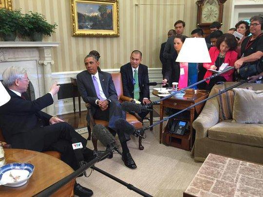 Tổng thống Mỹ Barack Obama tiếp Tổng Bí thư Nguyễn Phú Trọng tại Nhà Trắng trưa 7-7 (giờ địa phương). Ảnh: Twitter