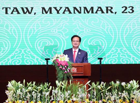 Thủ tướng Nguyễn Tấn Dũng phát biểu tại Hội nghị Cấp cao ACMECS 6 ngày 23-6Ảnh: TTXVN