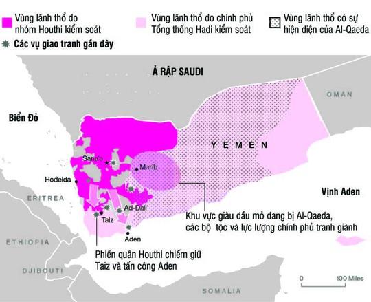 Yemen đang bị chia cắt bởi nhiều lực lượngNguồn: BLOOMBERG
