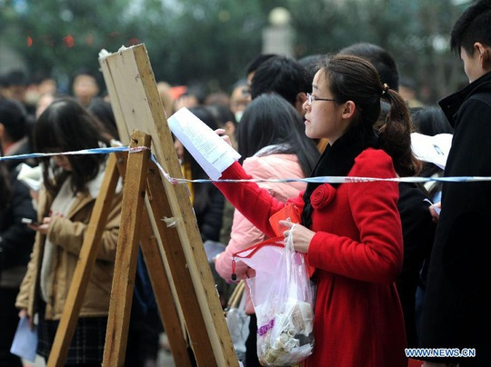 Kỳ thi công chức Trung Quốc năm 2014 thu hút hơn 1,4 triệu ngườiẢnh: TÂN HOA XÃ