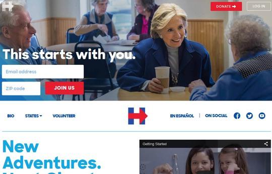 Giao diện website tranh cử của bà Hillary Clinton Ảnh: hillaryclinton.com
