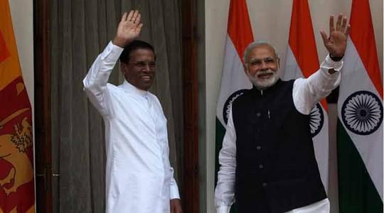 Tổng thống Sri Lanka (trái) và Thủ tướng Ấn Độ Ảnh: Indian Express
