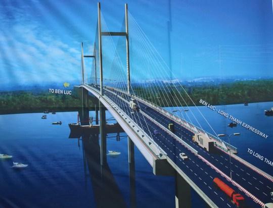 Phối cảnh dự án cầu cáp Phước Khánh trên đường cao tốc Bến Lức - Long Thành