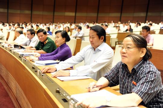 Đại biểu bấm nút thông qua Luật MTTQ Việt Nam (sửa đổi)Ảnh: Thắng Long