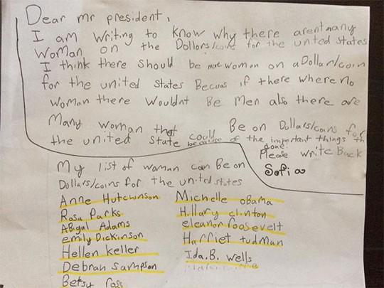Thư của Sofia gửi Tổng thống Mỹ. Ảnh: NY Daily News