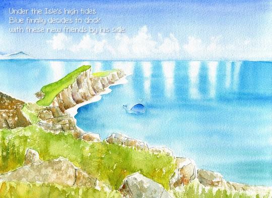 Dưới những đợt thủy triều dâng cao trên hòn đảo nhỏ  Cuối cùng Blue quyết định dừng chân  Bên những người bạn mới