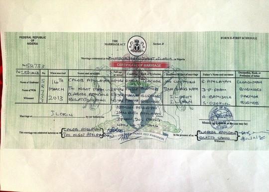 Giấy chứng nhận kết hôn do nước Nigeria cấp giữa bà Ngọt và ông Afolayan Caleb.