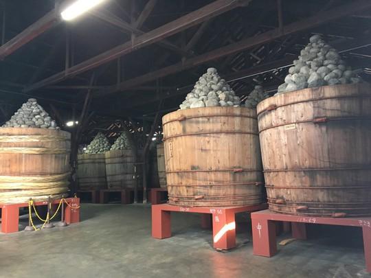 Những thùng gỗ sồi dùng để lên men miso