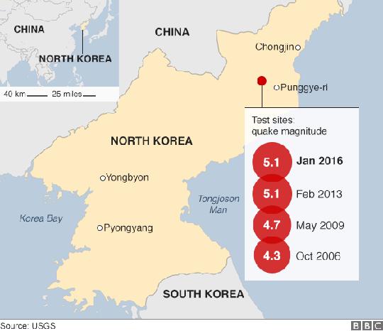 Bốn trong 5 vụ thử hạt nhân của Triều Tiên. Ảnh: USGS