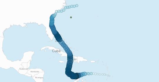 Đường đi của bão Matthew. Đây là cơn bão tồn tại khá lâu khi bắt đầu hình thành từ ngày 28-9. Ảnh: FOX NEWS