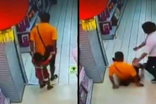 Cậu bé bị cha đè trúng trong siêu thị. Ảnh: QUẢNG ĐÔNG TV