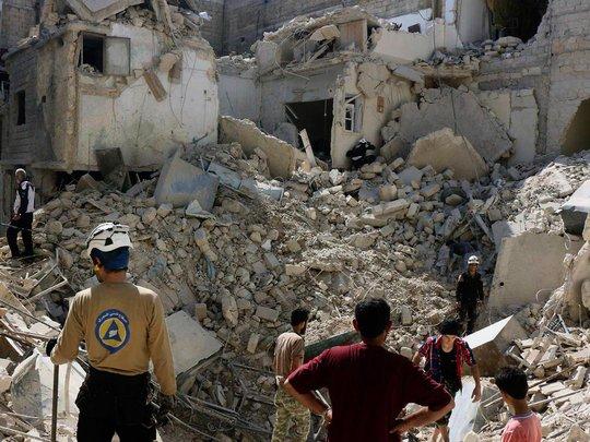 Một khu vực đổ nát ở phía Đông TP Aleppo do phiến quân kiểm soát. Ảnh: AP