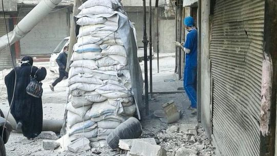 Bệnh viện nhi Bayan bị hư hỏng nặng. Ảnh: IDA