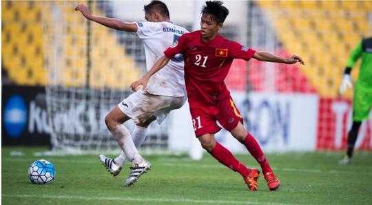 Tiền vệ Hữu Thắng, một trong những trụ cột đưa U16 Việt Nam vào tứ kết châu Á Ảnh: AFC
