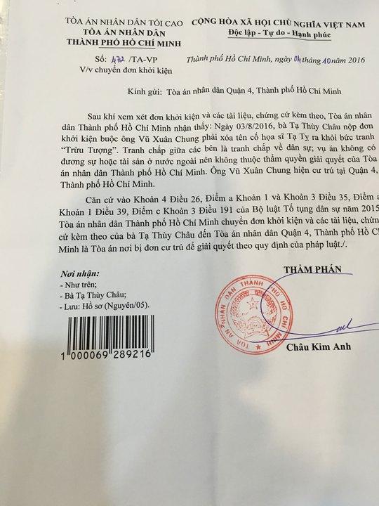 Bản chụp Công văn số 472 của TAND TP HCM gửi bà Tạ Thùy Châu ngày 4-10