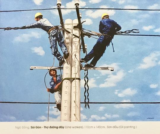 """Tranh """"Sài Gòn - thợ đường dây"""" đoạt giải khuyến khích Giải thưởng Văn học nghệ thuật TP HCM lần thứ nhất (2006-2011) của họa sĩ Ngô Đồng"""