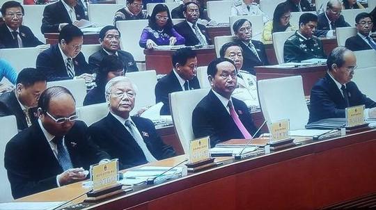 Lãnh đạo Đảng, Nhà nước, Chính phủ tại phiên khai mạc QH-Ảnh chụp qua màn hình