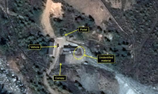 Hình ảnh từ vệ tinh cho thấy Triều Tiên rất có thể đang chuẩn bị tiến hành thử nghiệm hạt nhân. Ảnh: Reuters