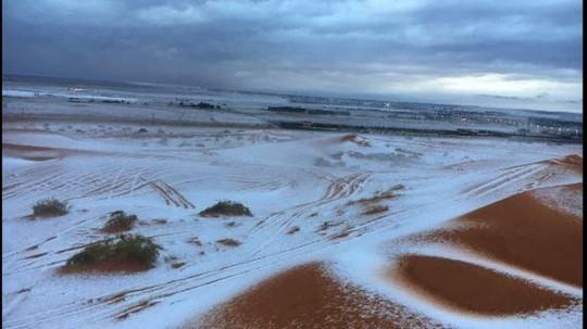 Tuyết phủ trắng sa mạc ở Ả Rập Saudi. Ảnh: Alarabiya