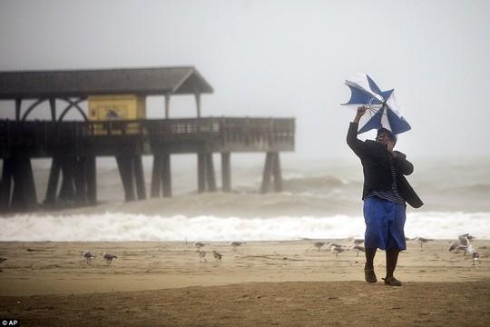 Một người đàn ông dũng cảm đi dạo trên biển ở đảo Tybee, bang Georgia. Ảnh: AP