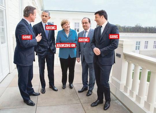 Bà Angela Merkel là nhân vật duy nhất trong bức ảnh tại vị và có ý định tái tranh cử vào năm 2017. Ảnh: Independent