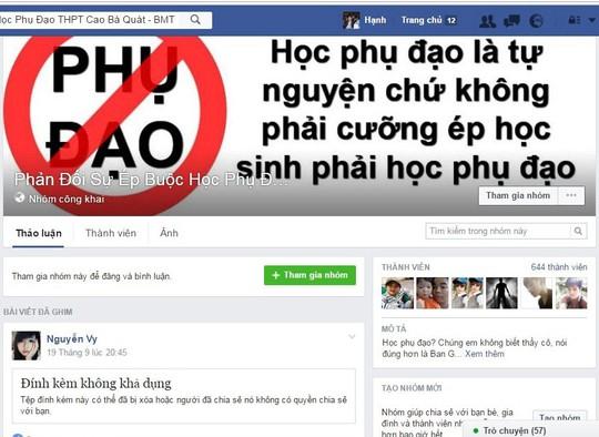 Trang Facebook phản đối việc dạy thêm ở Trường THPT Cao Bá Quát Ảnh: CAO NGUYÊN