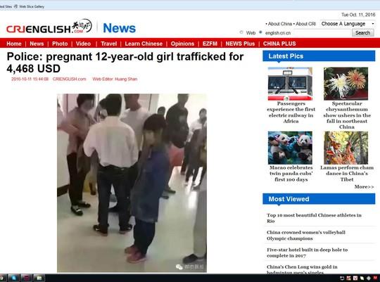 Hình ảnh bé gái 12 tuổi mang thai nghi là người Việt được một báo điện tử của Trung Quốc đăng tải, gây xôn xao dư luận