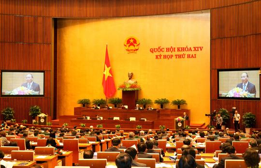 Thủ tướng Nguyễn Xuân Phúc trình bày Báo cáo về kết quả thực hiện kế hoạch phát triển kinh tế - xã hội năm 2016 Ảnh: TTXVN