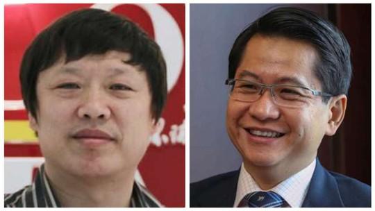 Tổng biên tập Thời báo Hoàn cầu Hu Xijin (trái) và Đại sứ Singapore Stanley Loh. Ảnh: SCMP