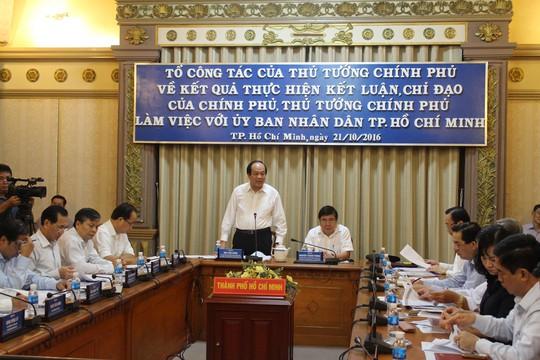 Ông Mai Tiến Dũng (đứng) - Bộ trưởng, Chủ nhiệm Văn phòng Chính phủ - phát biểu tại buổi làm việc với TP HCM