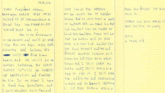 Lá thư tay Alex gửi tổng thống Mỹ. Ảnh: BBC