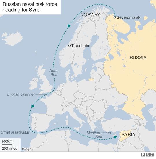 Hành trình của đội tàu thuộc Hạm đội Phương Bắc. Ảnh: BBC