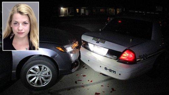 Nữ sinh Miranda Rader và hiện trường vụ đâm xe. Ảnh: Bryan Police Department