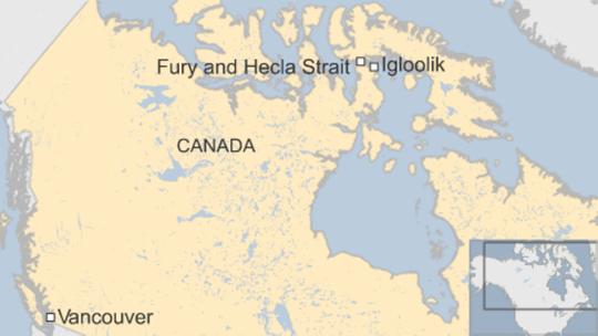 Âm thanh bí ẩn xuất phát từ khu vực eo biển Fury và Hecla khiến người dân bất an. Ảnh: BBC