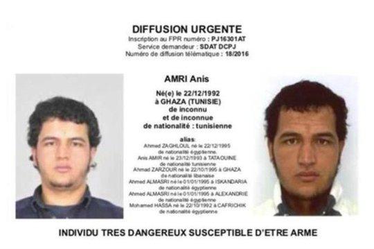 Amri, người xin tị nạn bất thành ở Đức, hiện bị truy nã trên khắp châu Âu. Ảnh: GERMAN INTERIOR MINISTRY