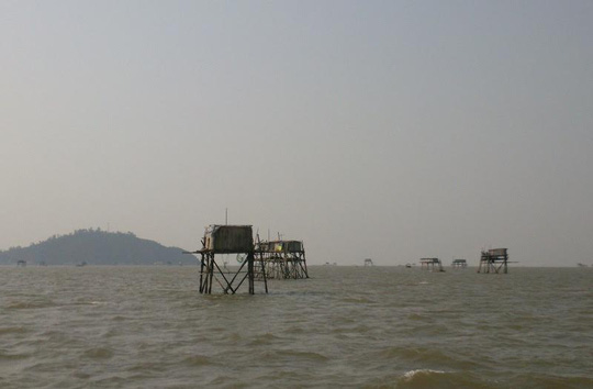 Khu vực chòi canh ngao ở biển Hậu Lộc, nơi ông Nguyễn Văn Hoè gặp nạn