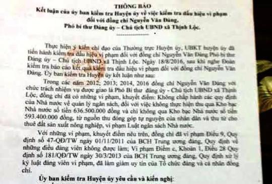 Kết luận chỉ rõ những sai phạm của Đảng ủy xã Thịnh Lộc, huyện Hậu Lộc (Thanh Hóa)