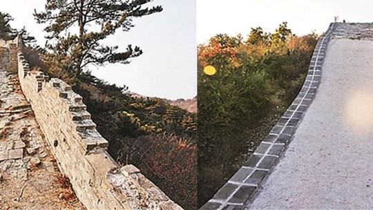 Đoạn Trường Thành trước và sau khi được tu sửa lại ở quận Tuy Trung, tỉnh Liêu Ninh. Ảnh: SCMP