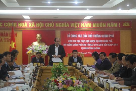 Bộ trưởng, Chủ nhiệm Văn phòng Chính Phủ Mai Tiến Dũng làm việc với tỉnh Hà Tĩnh chiều 16-12.