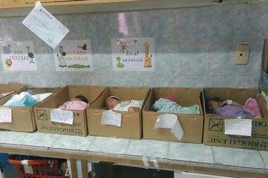 Trẻ sơ sinh Venezuela bị đặt trong các thùng giấy. Ảnh: MUD