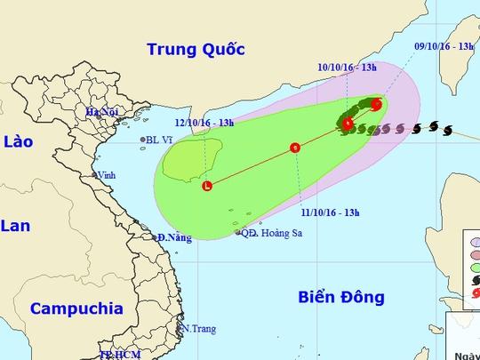 Vị trí và dự báo đường đi bão số 6 - Nguồn: Trung tâm dự báo khí tượng thủy văn Trung ương