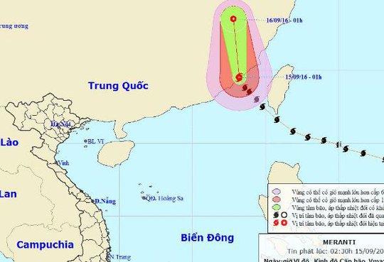 Siêu bão Meranti (bão số 5) đã đổ bộ vào phía Nam tỉnh Phúc Kiến (Trung Quốc) - Nguồn: Trung tâm dự báo khí tượng thuỷ văn Trung ương