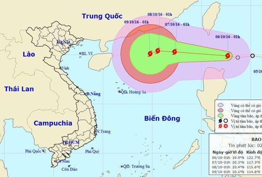 Vị trí và dự báo đường đi của bão Aere - Nguồn: Trung tâm dự báo khí tượng thuỷ văn Trung ương