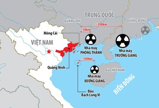 Vị trí ba nhà máy điện hạt nhân của Trung Quốc gần biên giới Việt Nam - Đồ họa: Báo Tuổi trẻ