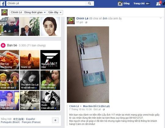 Số tiền 5 triệu đồng và biên lai ATM tên Lê T.Q.H. được chủ quán chia sẻ trên các trang mạng xã hội.