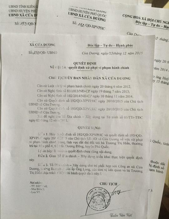 Các quyết định của UBND xã Cửa Dương đều bị các cấp tòa ở tỉnh Kiên Giang cho là trái pháp luật