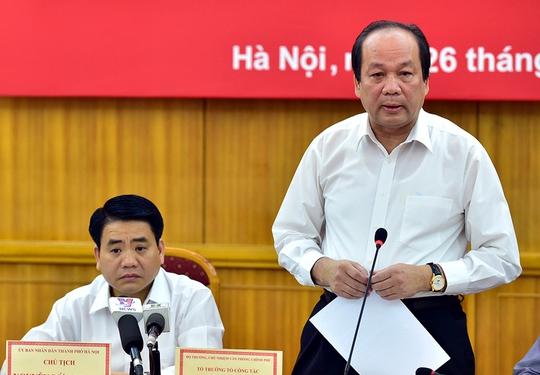 Chủ nhiệm Văn phòng Chính phủ Mai Tiến Dũng làm việc với lãnh đạo TP Hà Nội Ảnh: Nhật Bắc