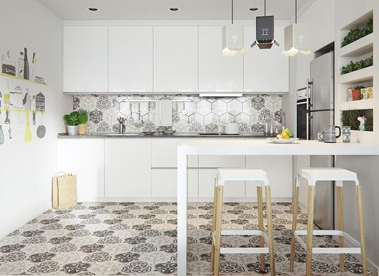 Họa tiết bắt mắt được chủ nhân căn hộ lựa chọn làm điểm nhấn, khiến căn bếp thêm hút mắt hơn.