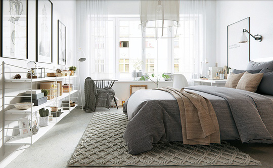 Toàn cảnh căn phòng ngủ mang vẻ thanh bình, dịu êm của căn hộ.