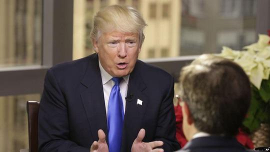 Tổng thống Mỹ đắc cử Donald Trump trả lời phỏng vấn kênh Fox News hôm 10-12Ảnh: AP